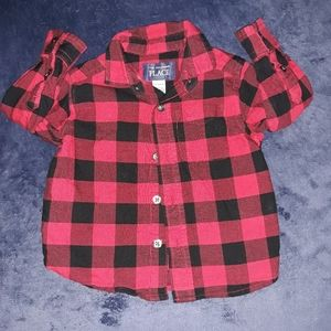 The Children's Place Red & Black Plaid Shirt